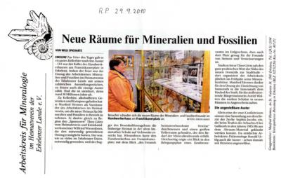 Rheinische Post vom 29.09.2010 Neue Räume für Mineralien und Fossilien