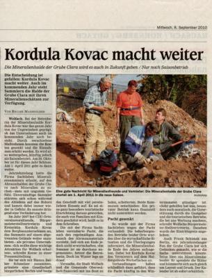 Kordula Kovac macht weiter Die Mineralienhalde der Grube Clara wird es auch in Zukunft geben / Nur noch Saisonbetrieb 08.09.2010