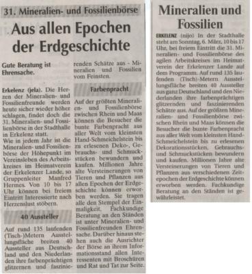 Mineralien und Fossilien aus der Rheinische Post vom 04.03.05 u. 31. Mineralien- und Fossilenbörse aus der Super Sonntag vom 06.03.05