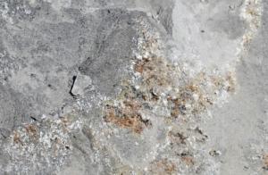 Kluft mit Mineralien vor Ort